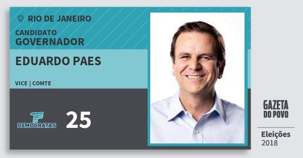 Santinho Eduardo Paes 25 (DEM) Governador | Rio de Janeiro | Eleições 2018