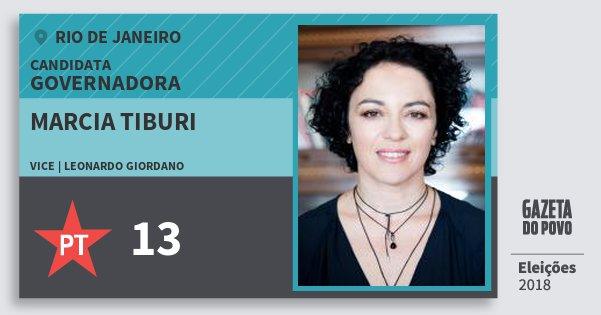 Santinho Marcia Tiburi 13 (PT) Governadora | Rio de Janeiro | Eleições 2018