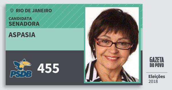 Santinho Aspasia 455 (PSDB) Senadora | Rio de Janeiro | Eleições 2018