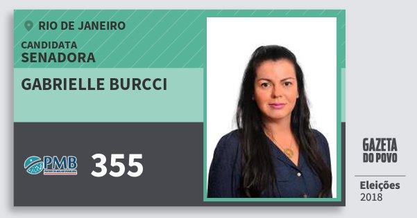 Santinho Gabrielle Burcci 355 (PMB) Senadora | Rio de Janeiro | Eleições 2018