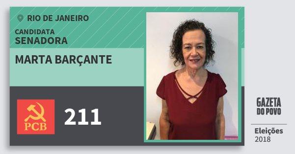 Santinho Marta Barçante 211 (PCB) Senadora | Rio de Janeiro | Eleições 2018