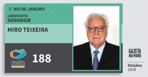 Santinho Miro Teixeira 188 (REDE) Senador | Rio de Janeiro | Eleições 2018