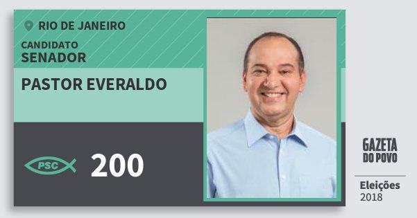 Santinho Pastor Everaldo 200 (PSC) Senador | Rio de Janeiro | Eleições 2018