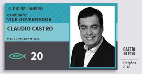 Santinho Claudio Castro 20 (PSC) Vice-governador | Rio de Janeiro | Eleições 2018