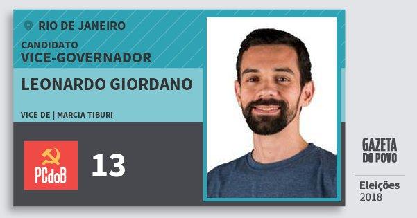 Santinho Leonardo Giordano 13 (PC do B) Vice-governador | Rio de Janeiro | Eleições 2018