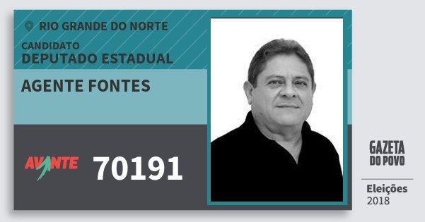 Santinho Agente Fontes 70191 (AVANTE) Deputado Estadual | Rio Grande do Norte | Eleições 2018