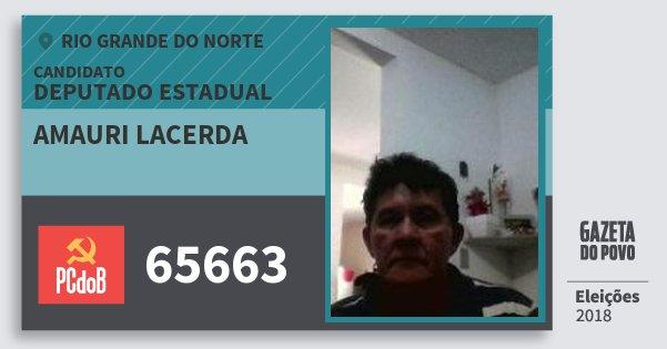 Santinho Amauri Lacerda 65663 (PC do B) Deputado Estadual | Rio Grande do Norte | Eleições 2018