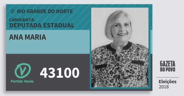 Santinho Ana Maria 43100 (PV) Deputada Estadual | Rio Grande do Norte | Eleições 2018