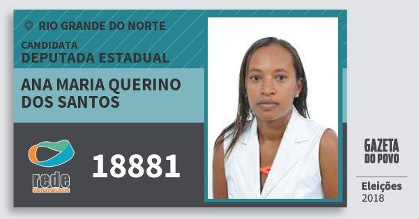 Santinho Ana Maria Querino dos Santos 18881 (REDE) Deputada Estadual | Rio Grande do Norte | Eleições 2018