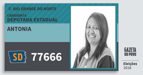 Santinho Antonia 77666 (SOLIDARIEDADE) Deputada Estadual | Rio Grande do Norte | Eleições 2018