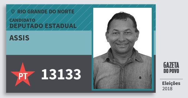Santinho Assis 13133 (PT) Deputado Estadual | Rio Grande do Norte | Eleições 2018