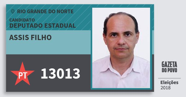Santinho Assis Filho 13013 (PT) Deputado Estadual | Rio Grande do Norte | Eleições 2018