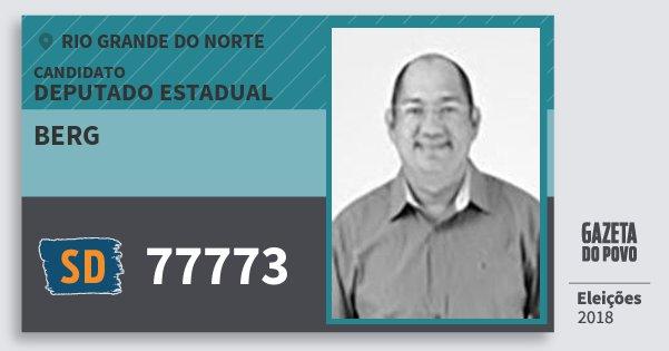 Santinho Berg 77773 (SOLIDARIEDADE) Deputado Estadual | Rio Grande do Norte | Eleições 2018