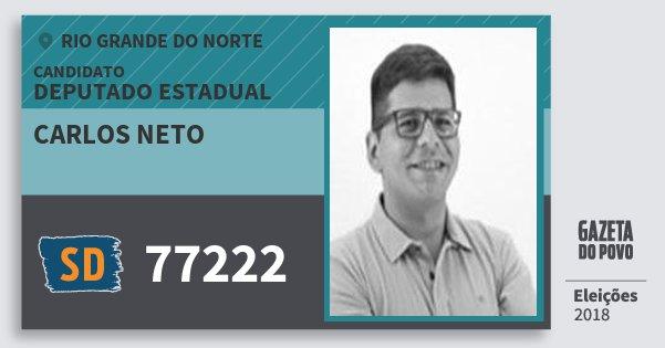 Santinho Carlos Neto 77222 (SOLIDARIEDADE) Deputado Estadual | Rio Grande do Norte | Eleições 2018