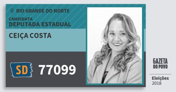 Santinho Ceiça Costa 77099 (SOLIDARIEDADE) Deputada Estadual | Rio Grande do Norte | Eleições 2018