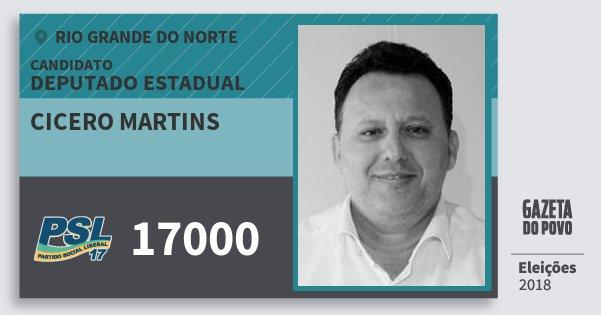 Santinho Cicero Martins 17000 (PSL) Deputado Estadual | Rio Grande do Norte | Eleições 2018