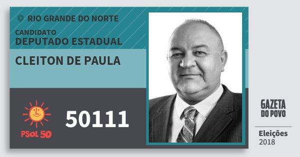 Santinho Cleiton de Paula 50111 (PSOL) Deputado Estadual | Rio Grande do Norte | Eleições 2018