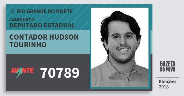 Santinho Contador Hudson Tourinho 70789 (AVANTE) Deputado Estadual | Rio Grande do Norte | Eleições 2018
