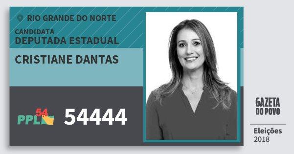 Santinho Cristiane Dantas 54444 (PPL) Deputada Estadual | Rio Grande do Norte | Eleições 2018