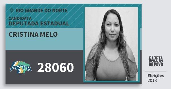 Santinho Cristina Melo 28060 (PRTB) Deputada Estadual | Rio Grande do Norte | Eleições 2018
