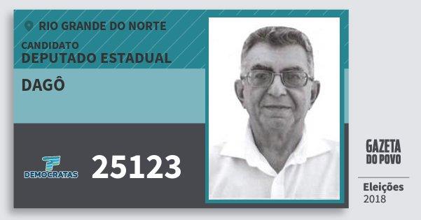 Santinho Dagô 25123 (DEM) Deputado Estadual | Rio Grande do Norte | Eleições 2018