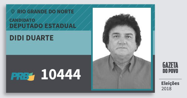 Santinho Didi Duarte 10444 (PRB) Deputado Estadual | Rio Grande do Norte | Eleições 2018