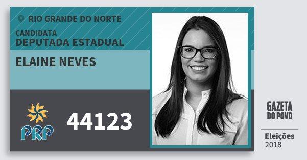 Santinho Elaine Neves 44123 (PRP) Deputada Estadual | Rio Grande do Norte | Eleições 2018