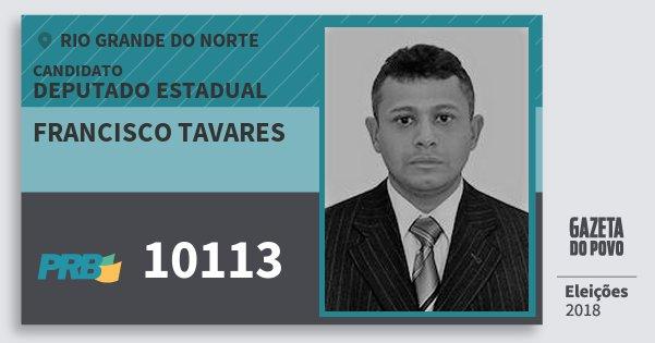 Santinho Francisco Tavares 10113 (PRB) Deputado Estadual | Rio Grande do Norte | Eleições 2018