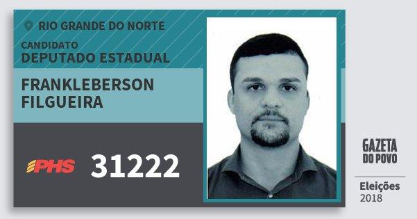 Santinho Frankleberson Filgueira 31222 (PHS) Deputado Estadual | Rio Grande do Norte | Eleições 2018