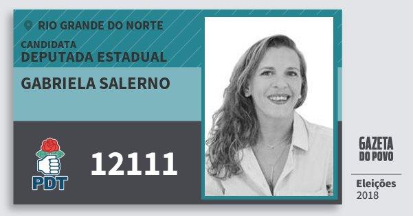 Santinho Gabriela Salerno 12111 (PDT) Deputada Estadual | Rio Grande do Norte | Eleições 2018