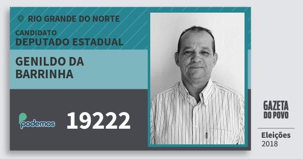 Santinho Genildo da Barrinha 19222 (PODE) Deputado Estadual | Rio Grande do Norte | Eleições 2018