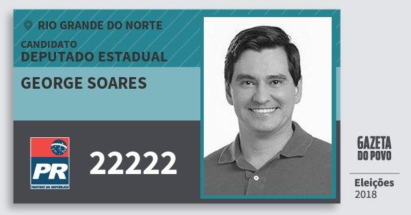Santinho George Soares 22222 (PR) Deputado Estadual | Rio Grande do Norte | Eleições 2018