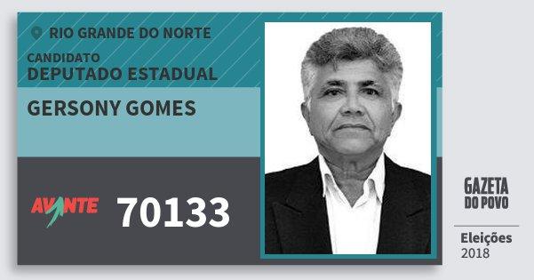 Santinho Gersony Gomes 70133 (AVANTE) Deputado Estadual | Rio Grande do Norte | Eleições 2018