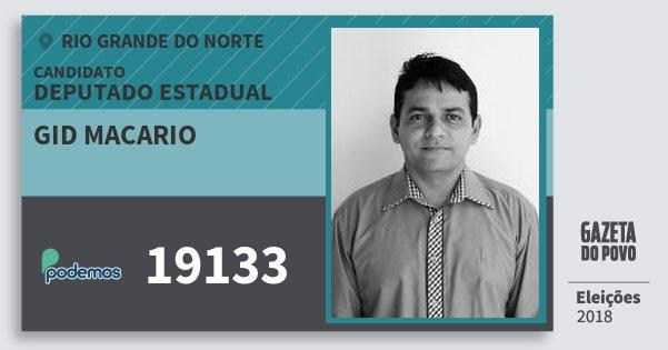 Santinho Gid Macario 19133 (PODE) Deputado Estadual | Rio Grande do Norte | Eleições 2018