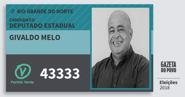 Santinho Givaldo Melo 43333 (PV) Deputado Estadual | Rio Grande do Norte | Eleições 2018