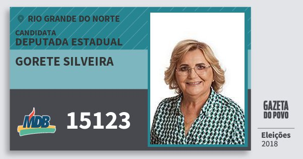 Santinho Gorete Silveira 15123 (MDB) Deputada Estadual | Rio Grande do Norte | Eleições 2018