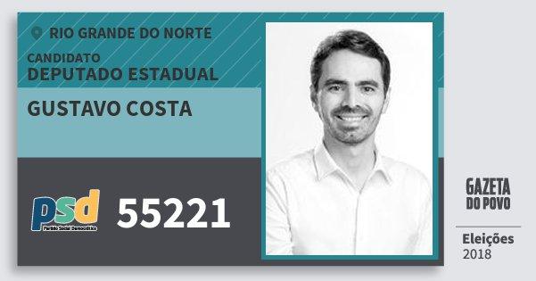 Santinho Gustavo Costa 55221 (PSD) Deputado Estadual | Rio Grande do Norte | Eleições 2018
