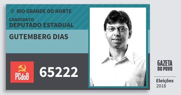 Santinho Gutemberg Dias 65222 (PC do B) Deputado Estadual | Rio Grande do Norte | Eleições 2018