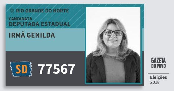 Santinho Irmã Genilda 77567 (SOLIDARIEDADE) Deputada Estadual | Rio Grande do Norte | Eleições 2018