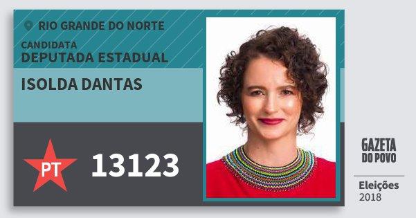 Santinho Isolda Dantas 13123 (PT) Deputada Estadual | Rio Grande do Norte | Eleições 2018