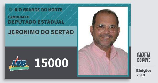 Santinho Jeronimo do Sertao 15000 (MDB) Deputado Estadual | Rio Grande do Norte | Eleições 2018