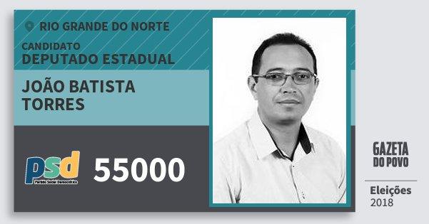 Santinho João Batista Torres 55000 (PSD) Deputado Estadual | Rio Grande do Norte | Eleições 2018