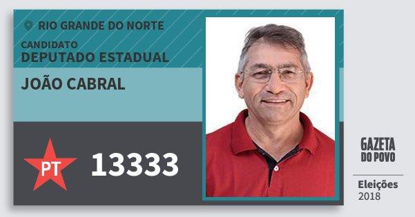 Santinho João Cabral 13333 (PT) Deputado Estadual | Rio Grande do Norte | Eleições 2018