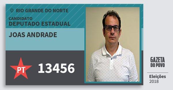 Santinho Joas Andrade 13456 (PT) Deputado Estadual | Rio Grande do Norte | Eleições 2018