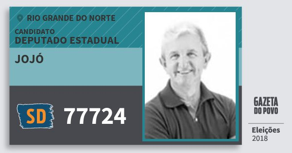 Santinho Jojó 77724 (SOLIDARIEDADE) Deputado Estadual | Rio Grande do Norte | Eleições 2018