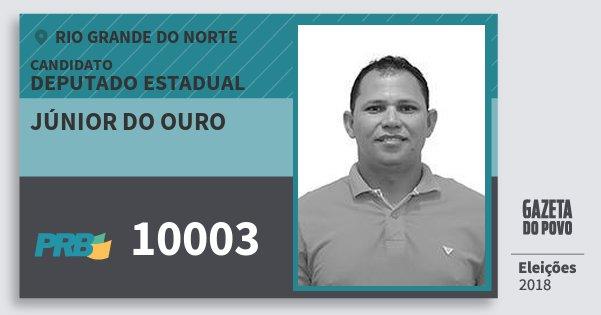 Santinho Júnior do Ouro 10003 (PRB) Deputado Estadual | Rio Grande do Norte | Eleições 2018