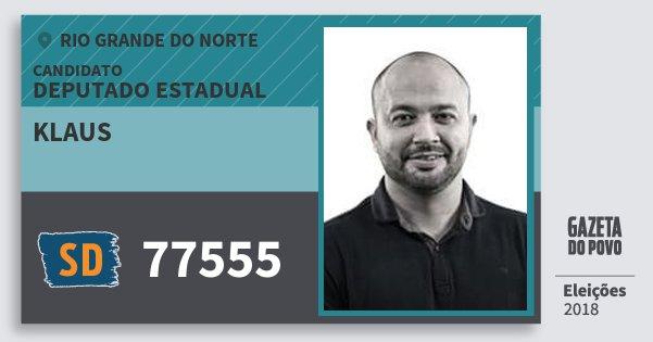 Santinho Klaus 77555 (SOLIDARIEDADE) Deputado Estadual | Rio Grande do Norte | Eleições 2018