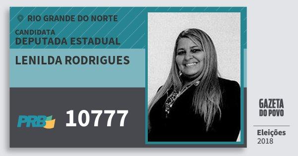 Santinho Lenilda Rodrigues 10777 (PRB) Deputada Estadual | Rio Grande do Norte | Eleições 2018