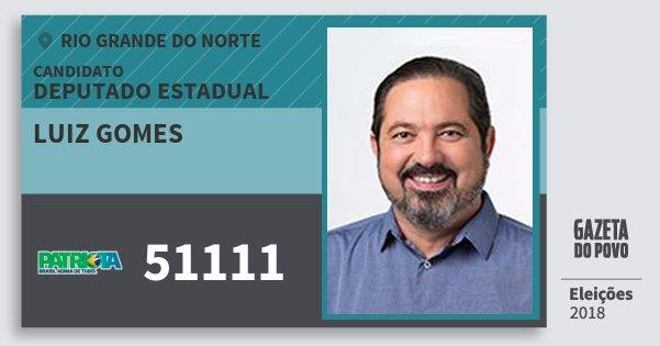 Santinho Luiz Gomes 51111 (PATRI) Deputado Estadual | Rio Grande do Norte | Eleições 2018