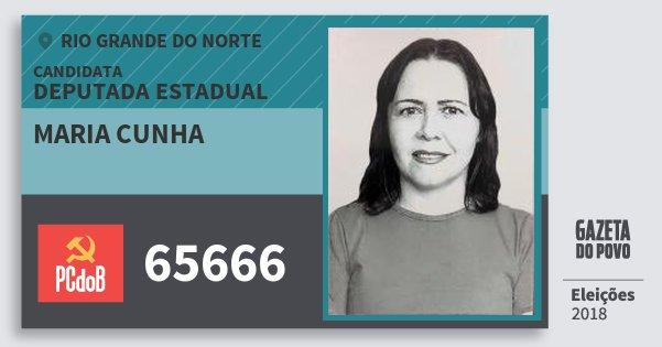 Santinho Maria Cunha 65666 (PC do B) Deputada Estadual | Rio Grande do Norte | Eleições 2018